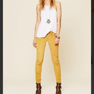 FREE PEOPLE  yellow skinny ankle stretch jeans